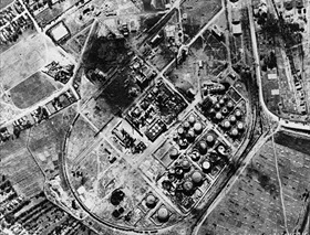 Allied bombing campaign against Axis: Largely intact Columbia Aquila Refinery at Ploesti after bombing