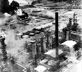 Ploiești's Columbia Aquila refinery burning, August 1, 1943