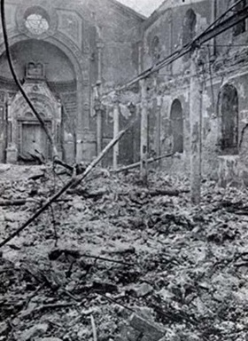 Destroyed Sephardic Temple, Bucharest, Romania, January 23, 1941