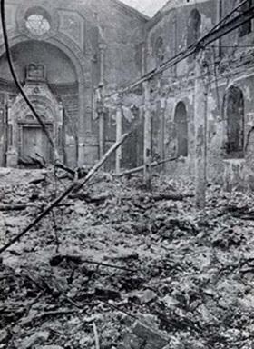 Romanian Holocaust: Destroyed Sephardic Temple, Bucharest, Romania, January 23, 1941