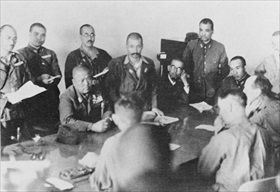 Lt. Gens. Tomoyuki Yamashita and Arthur Percival during surrender talks