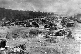 Abandoned vehicles of the German Ninth Army, end of June 1944