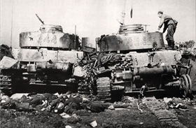 Destroyed German tank and crew, June 28, 1944