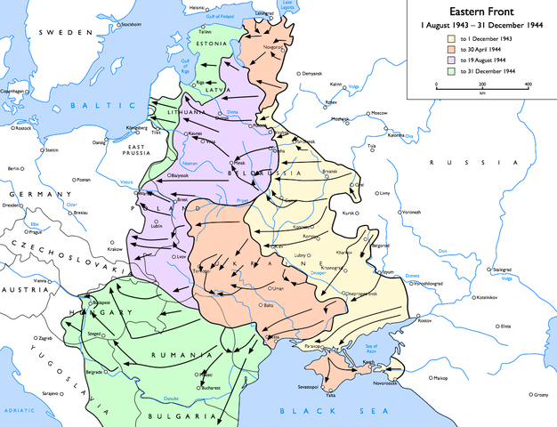 Map of Eastern Front, August 1943–December 1944