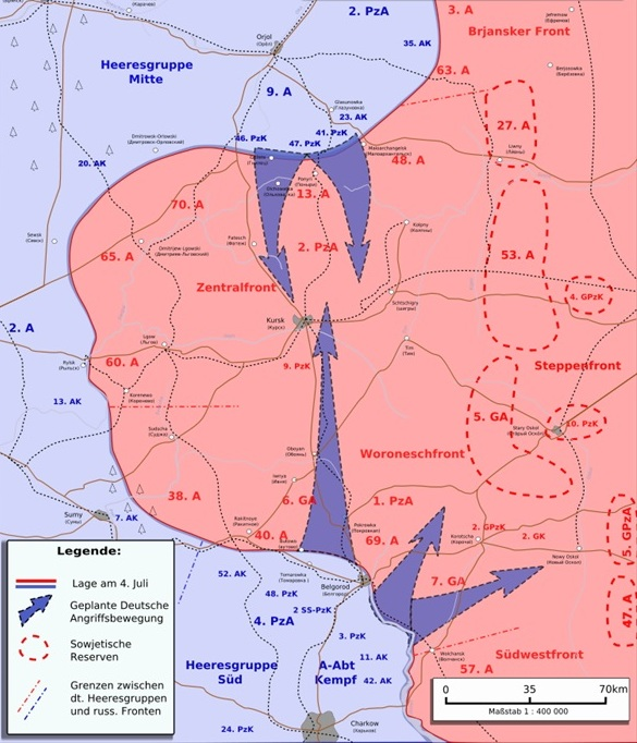 Kursk, Russia, July 1943: German plan of attack