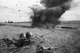 Soviet antitank riflemen take out enemy tank, July 20, 1943