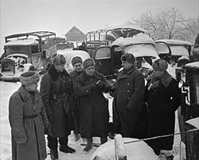 Commander and staff examine captured German vehicles, December 10, 1941