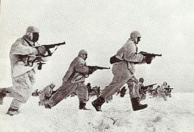 Soviet soldiers attack German positions, December 1941