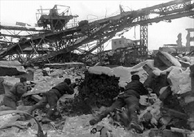 Soviet soldiers in rubble of Stalingrad's Red October Steel Factory