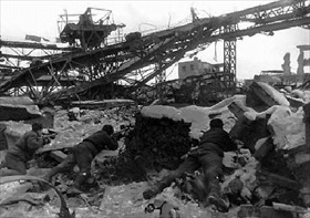 Soviet soldiers in rubble of the Red October Steel Factory