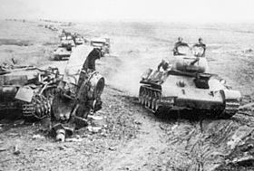 Soviet tanks move to engage enemy, Kursk salient 1943