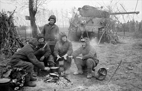 1st Baltic Front tankers with U.S. Lend-Lease Sherman tank