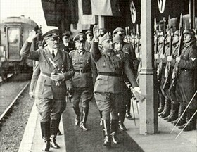 Hitler and Franco reviewing honor guard, Hendaye, October 23, 1940