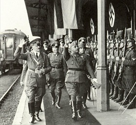 Hitler and Franco review German troops, Hendaye, October 23, 1940