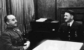 Franco and Hitler confer in the Fuehrer's private railway car, Hendaye, October 23, 1940