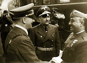 Hitler and Franco greeting one another, Hendaye, October 23, 1940