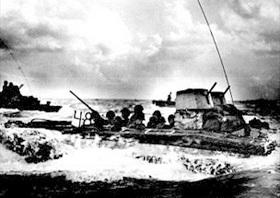 Marines use LVT on Tinian, 1944
