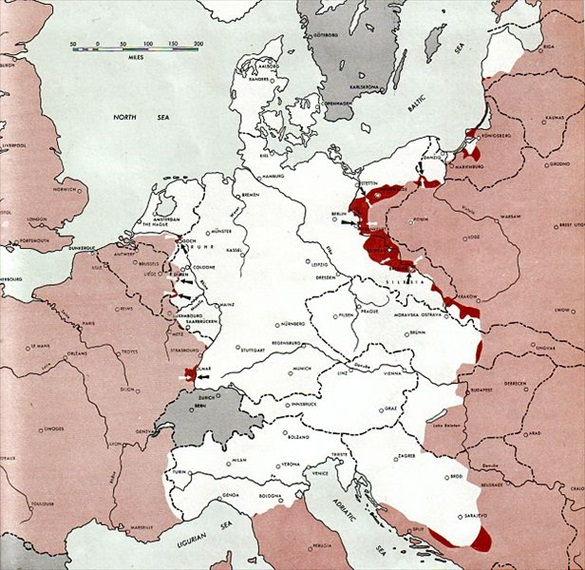 Map of European battlefront, February 1945