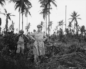 MacArthur inspecting bombardment results, Los Negros, February 29, 1944