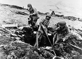 Battle of Attu: Mopping up using mortar, June 1943