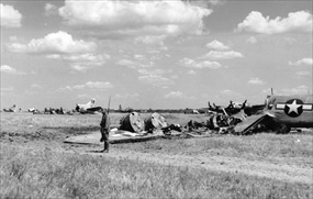 Operation Frantic: Sentry guards Eighth Air Force remains, Poltava, June 1944