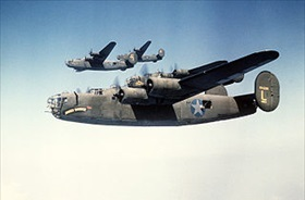 Consolidated B-24D Liberators in flight formation