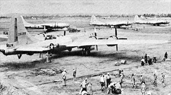Operation Matterhorn: B-29s on airfield, Chengdu, China, June 1944