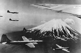 Twentieth Air Force B-29s over Japan, 1945