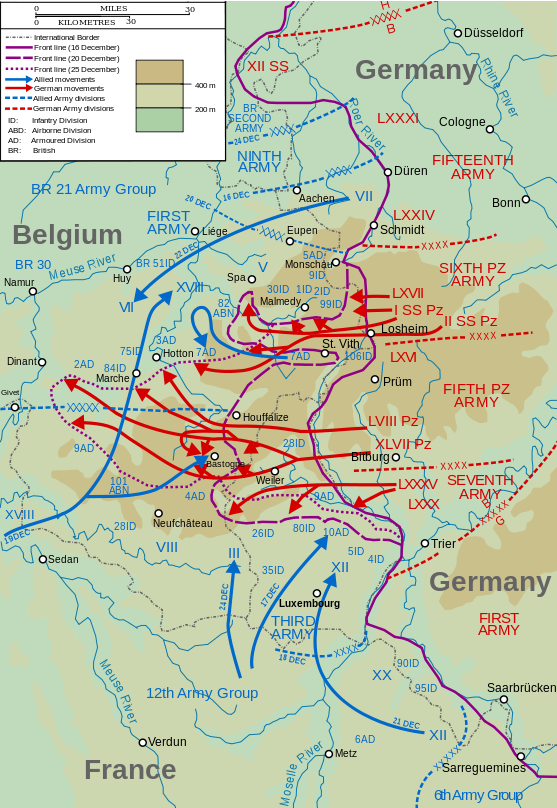German Ardennes Offensive (Battle of the Bulge), December 16–25, 1944