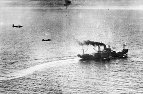 Battle of the Bismarck Sea: Two aircraft engaged in mast-height bombing