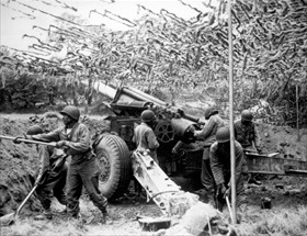 African American members of a field artillery battery, Normandy, June 1944