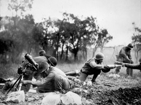 "African American mortar company of the 92nd Infantry (""Buffalo"") Division near Massa, Italy, November 1944"
