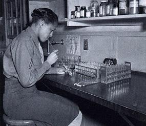 Black Women's Army Corps (WAC) lab tech, Fort Jackson, South Carolina, 1944