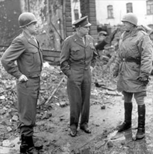 Generals Omar Bradley, Dwight D. Eisenhower, and George S. Patton