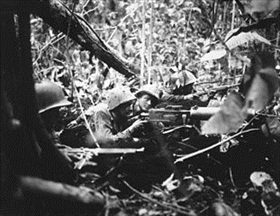 Battle of Cape Gloucester: Marines' machine gun nest, Cape Gloucester