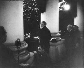 Lighting White House Christmas tree, December 24, 1941