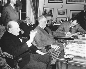 First Washington Conference: December 23, 1941, press conference with Churchill and Roosevelt