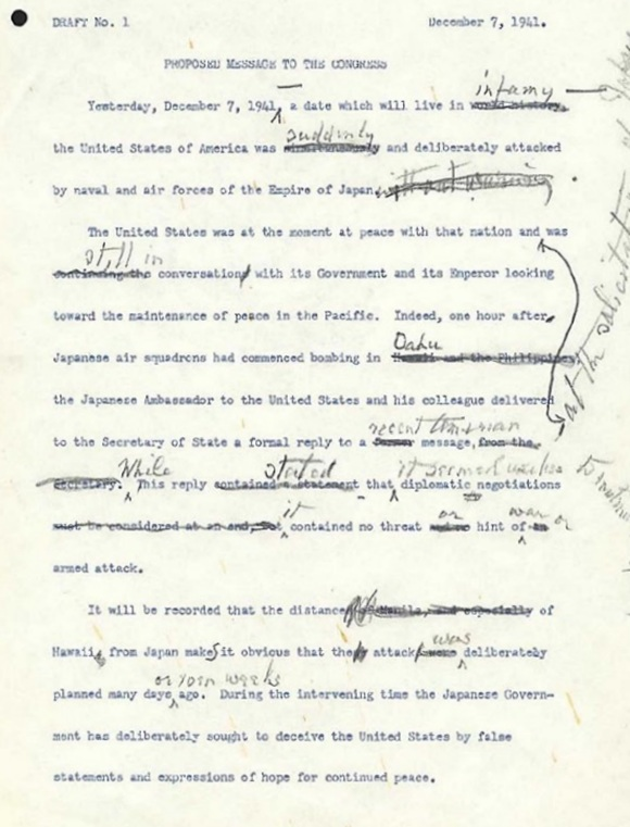 Markups of Roosevelt's Day of Infamy Speech