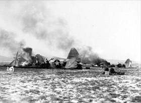 Destroyed U.S. P-47s at Metz-Frescaty airfield