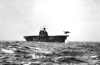 "Doolittle Raid: U.S. carrier ""Hornet"" launches B-25 Mitchell bomber from flight deck"