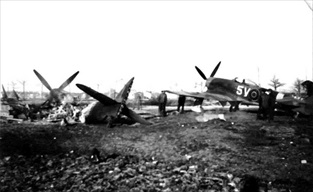 Destroyed aircraft at Eindhoven