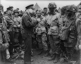 Eisenhower speaking to men of the 101st Airborne Division, June 5, 1944