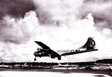 """Enola Gay"" landing on Tinian after bombing Hiroshima, August 6, 1945"