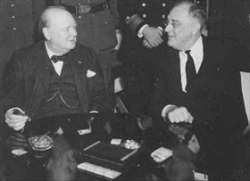 Churchill and Roosevelt at Casablanca, January 18, 1943