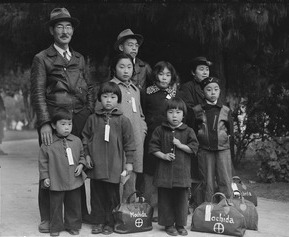 Executive Order 9066: Mochida family awaits evacuation bus, May 8, 1942