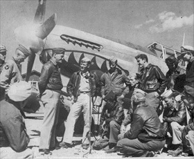 Chennault (hands at back) and Flying Tiger pilots, China, 1942