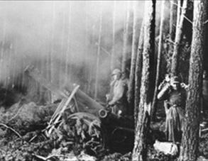 German artillery battery, Battle of Huertgen Forest, November 1944
