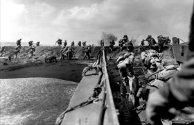 Marines landing on Iwo Jima, February 1945