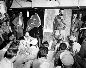 Marine Corps pre-invasion briefing aboard ship