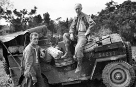 Ernie Pyle and Jeep, Okinawa, April 1945
